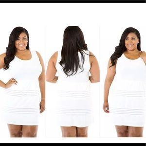 Dresses & Skirts - NEW PLUS SIZE WHITE FLARE MESH TANK DRESS SIZE 1X